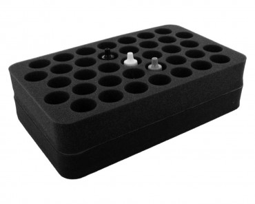 HS070P1BO 70 mm (2.75 inch) half-size Figure Foam Tray with base - 37 round compartments for paint pots